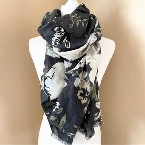 Charcoal Floral Butterfly Bird Scarf